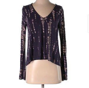 Gypsy 05 Purple Tie Dye Long Sleeve Top, S